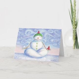 Cartão do boneco de neve da ioga pelo design do