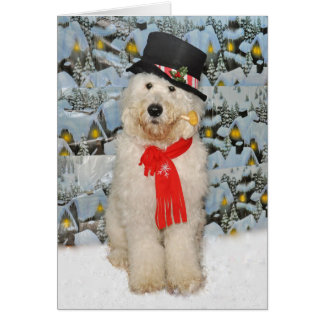 Cartão do boneco de neve de Goldendoodle