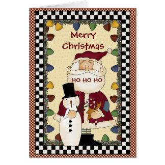 Cartão do boneco de neve do papai noel da coleção