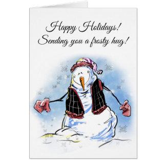 Cartão do boneco de neve dos cartões de natal