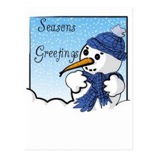 Cartão do boneco de neve dos cumprimentos das cartão postal