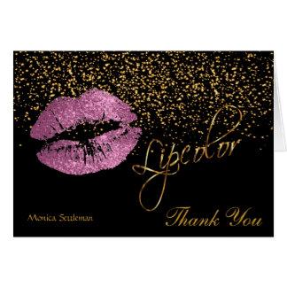 Cartão Do bordo da cor lábios do brilho do rosa assim no