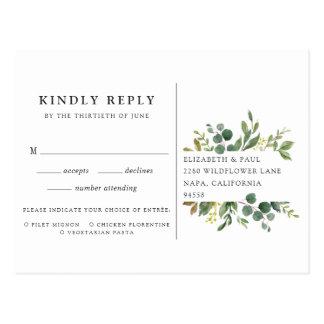 Cartão do bosque RSVP do eucalipto com escolha da