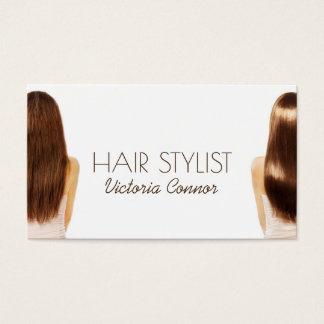 Cartão do branco do modelo do cabelo do penteado