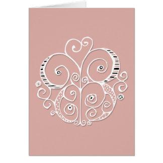 Cartão do branco do motivo do coração