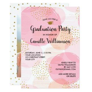 Cartão Do brilho cor-de-rosa do ouro da festa de