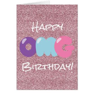 Cartão do brilho do feliz aniversario de OMG