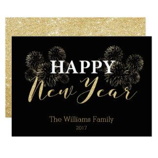 Cartão do brilho do ouro do feliz ano novo convite 12.7 x 17.78cm