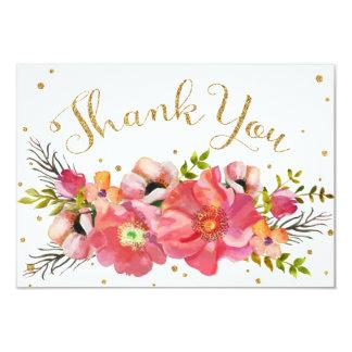 Cartão Do brilho floral do ouro da aguarela obrigado
