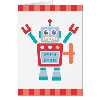 Cartão Do brinquedo bonito do robô do vintage feliz