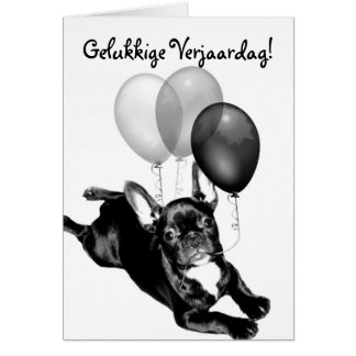 Cartão do buldogue francês de Gelukkige Verjaardag