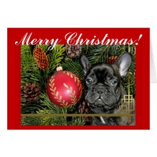 Cartão do buldogue francês do Feliz Natal