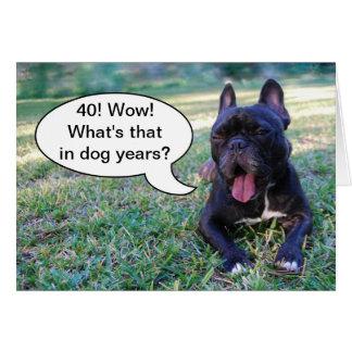 Cartão do buldogue francês dos anos do cão do