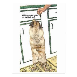 Cartão do bumbum do biscoito do Pug