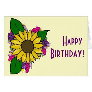 Cartão do buquê do girassol - feliz aniversario