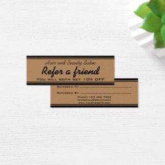 Cartão do cabelo e da referência do salão de