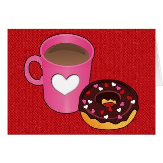 Cartão do café e da rosquinha dos namorados