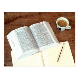 Cartão do café e do livro