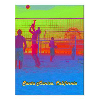 Cartão do cais do voleibol de praia de Santa