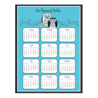 Cartão do calendário das corujas 2012 do inverno