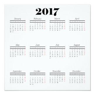 Cartão do calendário do branco 2017