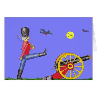 Cartão do canhão do soldado de brinquedo e do