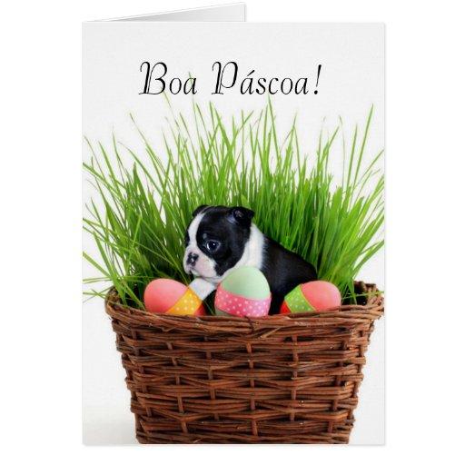 Cartão do cão de Boston Terrier da páscoa de