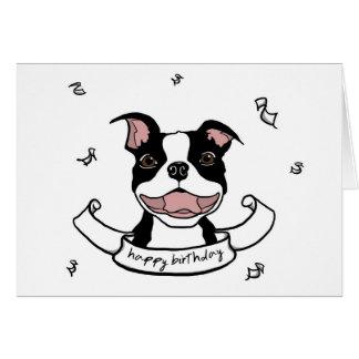 Cartão do cão de Boston Terrier do feliz