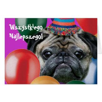 Cartão do cão do pug do feliz aniversario