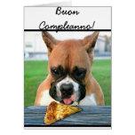 Cartão do cão do pugilista de Buon Compleanno
