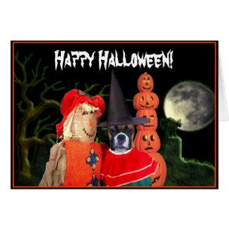 Cartão do cão do pugilista do Dia das Bruxas