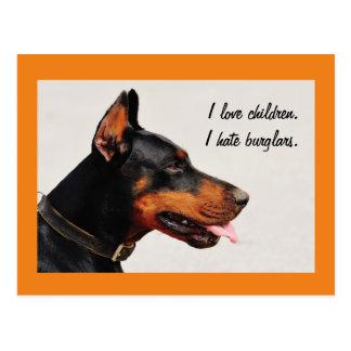 """Cartão do cão dos assaltantes do Doberman """"eu"""