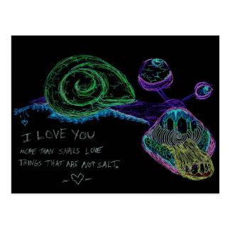 Cartão do caracol do néon eu te amo