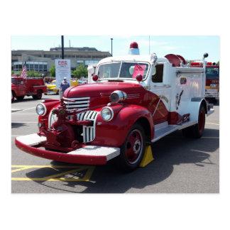 Cartão do carro de bombeiros do vintage