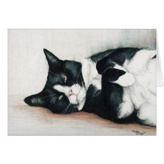 """Cartão Do """"cartão da arte do gato smoking"""""""