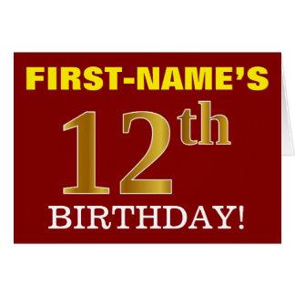 """Cartão Do """"cartão de aniversário vermelho, de imitação"""
