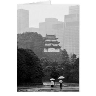 Cartão do cartão de nota da chuva de Tokyo