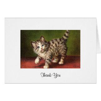 Cartão do cartão do gatinho do vintage