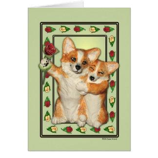 Cartão do casal do Corgi