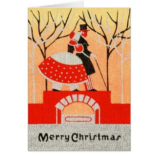 Cartão do casal do Natal do vintage 1920s-1930s