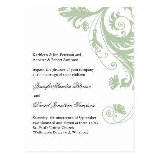 Cartão do casamento da amostra para Jen