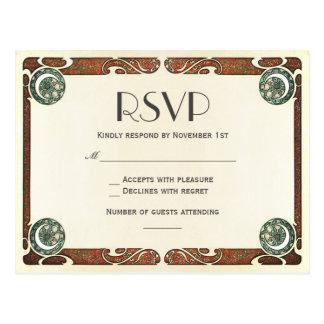 Cartão do casamento de Nouveau RSVP da arte do