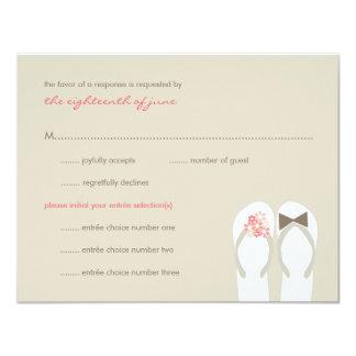 Cartão do casamento de praia RSVP dos chinelos do