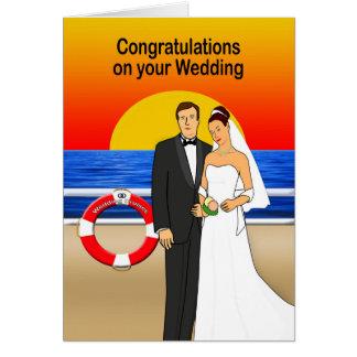 Cartão do casamento do navio de cruzeiros dos