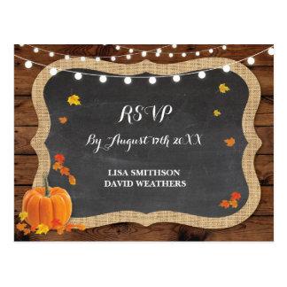 Cartão do casamento outono da abóbora da resposta cartão postal