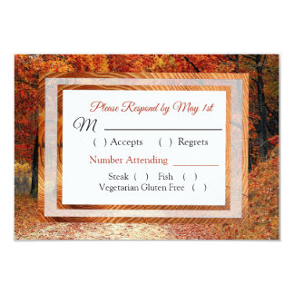 Cartão do casamento outono RSVP das árvores e das