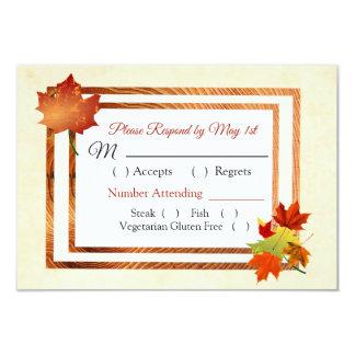 Cartão do casamento outono RSVP das folhas de