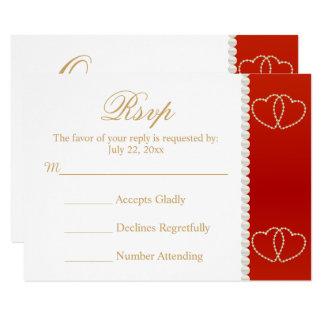 Cartão do casamento RSVP vermelho escuro e