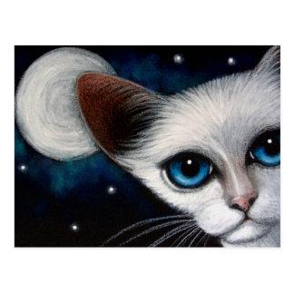 Cartão do CAT SIAMESE & da LUA CHEIA