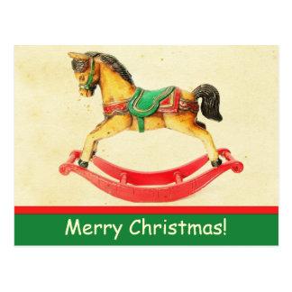 Cartão do cavalo de balanço do natal vintage